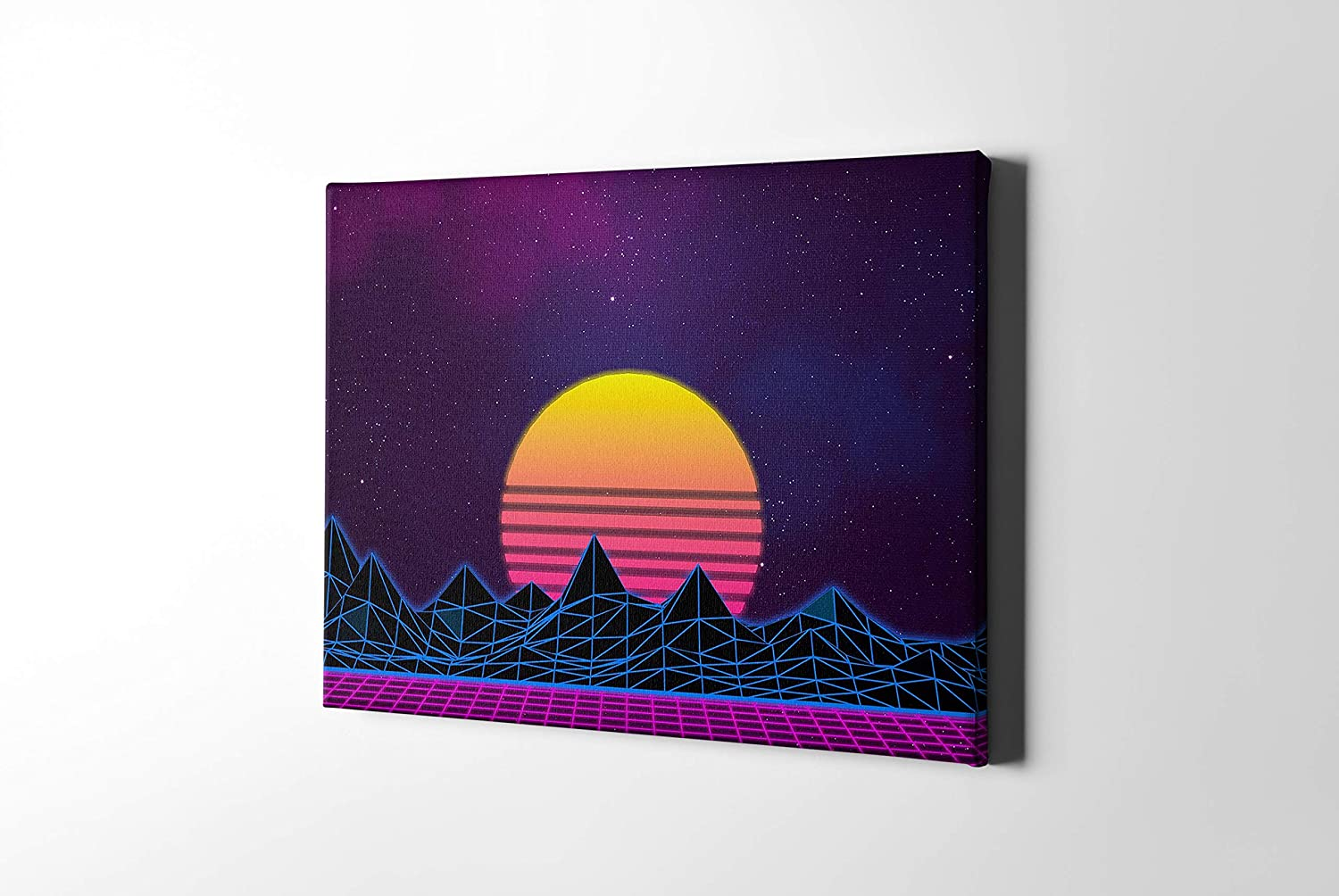 LACEDUSA Canvas Wall Decor CyberPunk VideoGaming Home Prints Art Sci-fi Wall Art Vaporwave Framed Ready to Hang for Bathroom Living Room scenery Home Office Kitchen Home Decoration Sci-fi-Sunrise