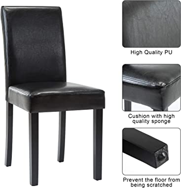 Dining Chairs Dining/Living Room Kitchen Chairs PU Leather Padded Chair with Solid Wood Legs Set of 4, Modern Urban Style,Bla