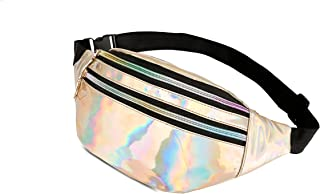 Holographic shiny festival concert sport outdoor quality bum bag fanny pack multi pocket | men, women, kids | Suitable for Running Walking Traveling Workout Casual Shopping Hiking Cycling Beach men women kids | Silver, Gold, Black, Pink |