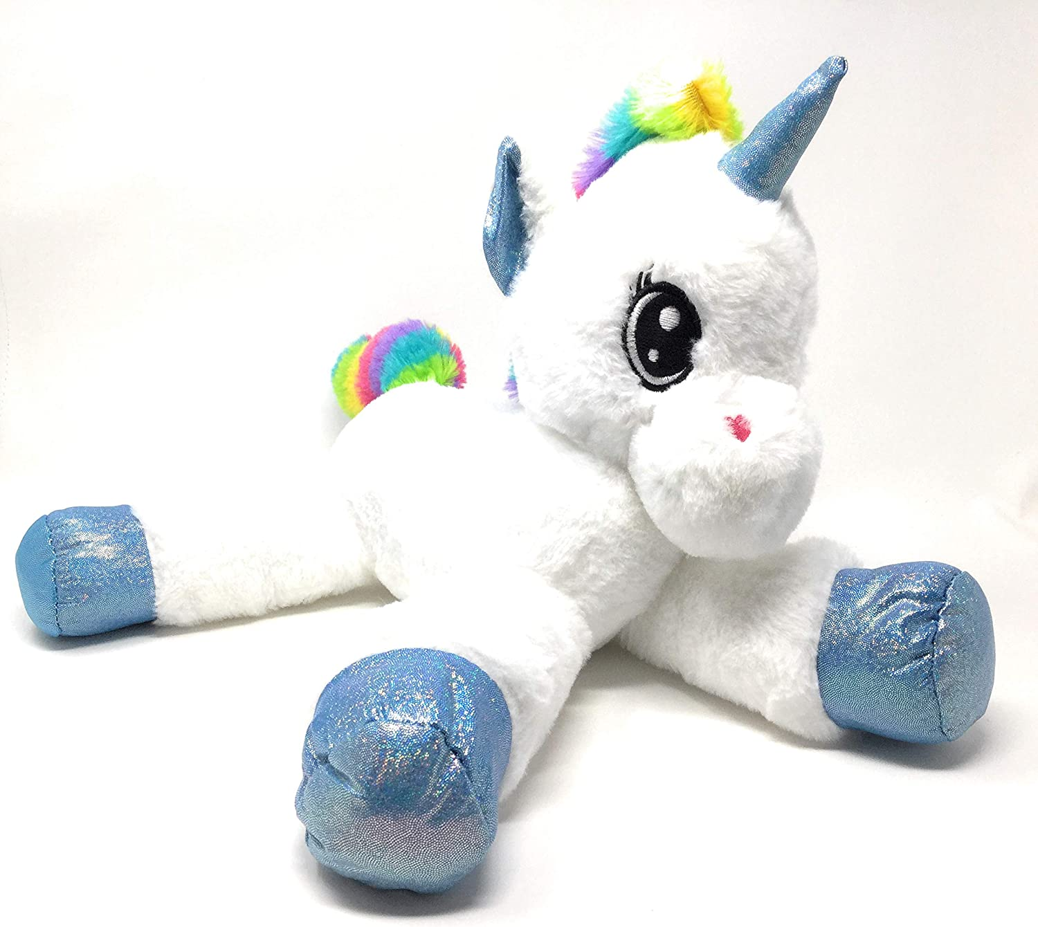 Gitzy - Extra Soft, Adorable 17  Large Laying Plush Unicorn - White Body, Sparkly bluee Horn & Hooves with Rainbow Mane and Tail.
