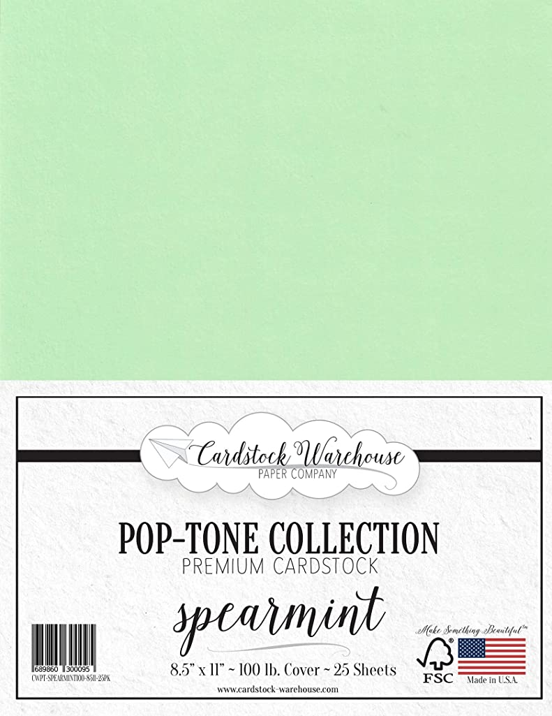 Spearmint Green Cardstock Paper - 8.5 x 11 inch 100 lb. Heavyweight Cover -25 Sheets from Cardstock Warehouse