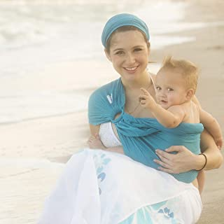 Beachfront Baby - Versatile Water & Warm Weather Ring Sling Baby Carrier | Made in USA with Safety Tested Fabric & Aluminum Rings | Lightweight, Quick Dry & Breathable (Caribbean Blue, One Size)