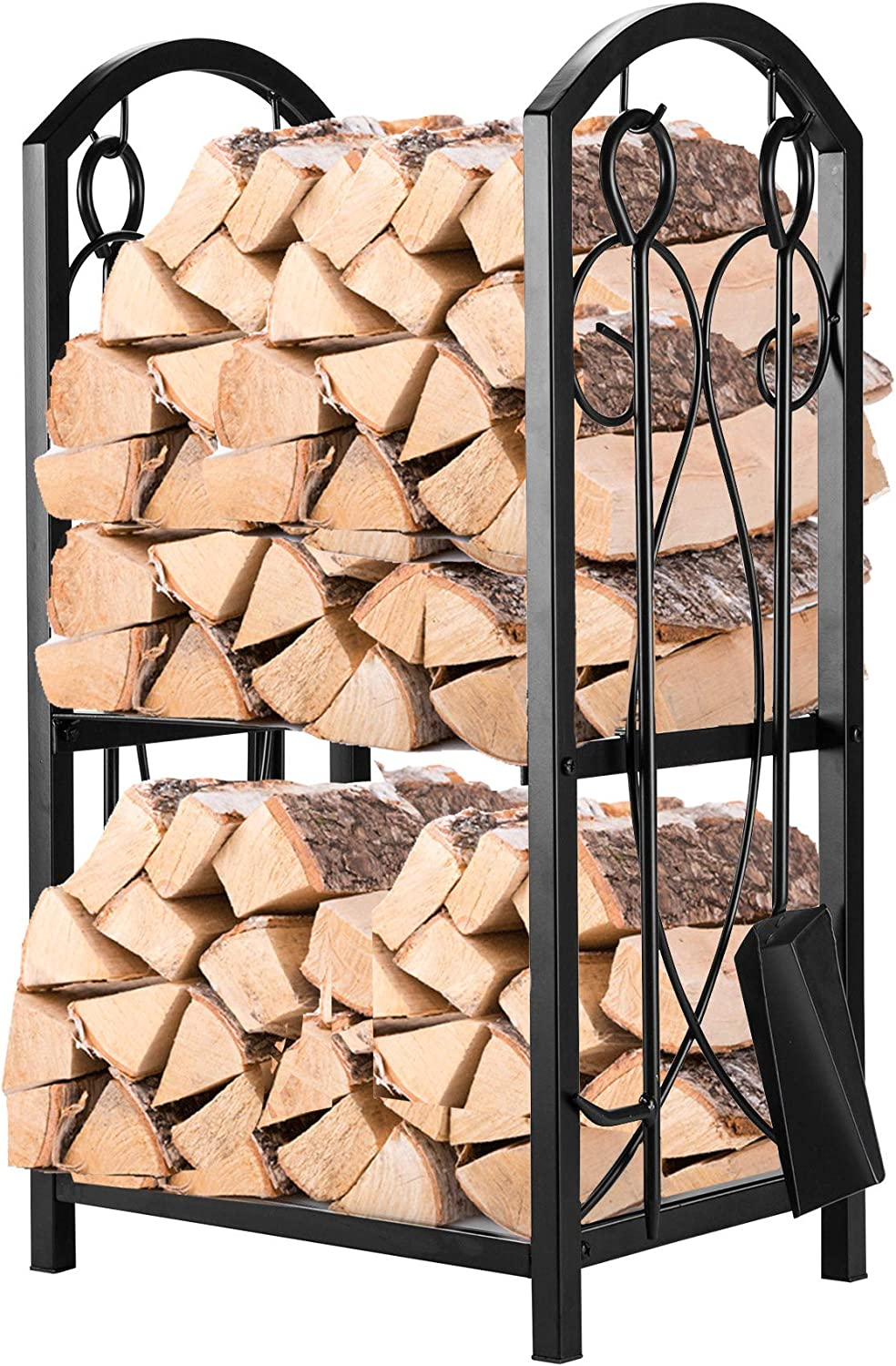 Pinty Firewood Log Rack with 4 Tools Firewood Storage Fireplace Tool Set Indoor Outdoor Wrought Iron Firewood Holders Lumber Storage Stacking Black