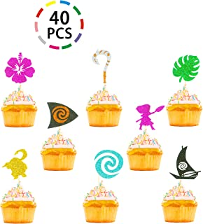40PCS Glitter Moana Inspired Cupcake Toppers Birthday Baby Shower Wedding Tropical Luau Summer Party Decoration