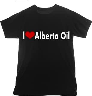 Alberta Oil I Love t Shirt I Love Clothing Basic Tee T-Shirt Heart Flock Vinyl