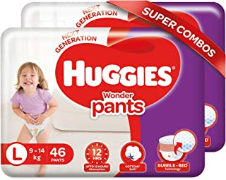 Huggies Wonder Pants, Large Size Diapers Combo Pack of 2, 46 Counts Per Pack, 92 Counts