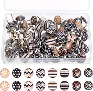 TecUnite Creative Fashion Push Pins Decorative Thumbtacks for Wall Maps, Photos, Bulletin Board or Cork Boards, 8 Different Patterns, 80 Pieces (Multicolor C)