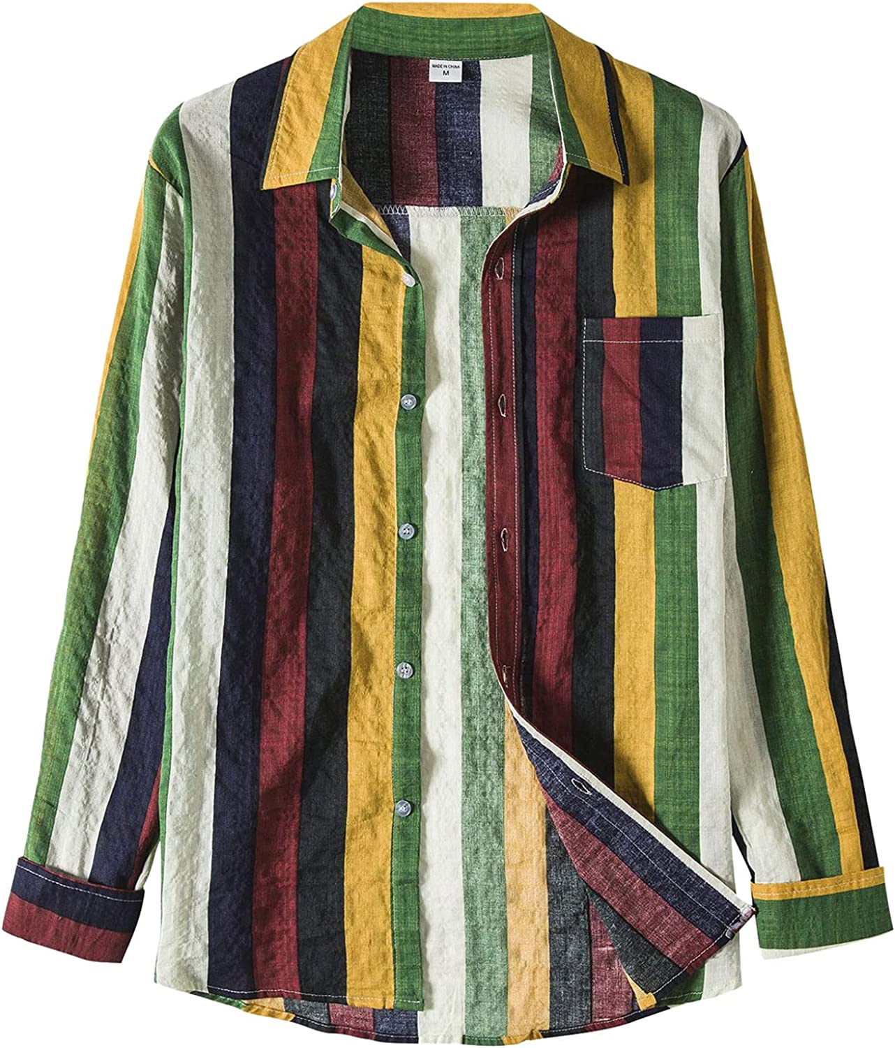 Mens Classic Color Block Lightweight Flannel Jackets Striped Long Sleeve Vintage Button Down Shirts Tops Sweatshirts