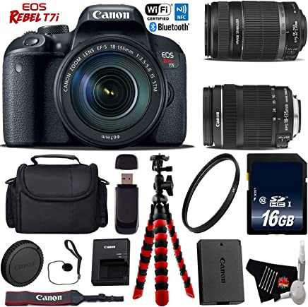 $960 » Canon EOS Rebel T7i DSLR Camera with 18-135mm is STM Lens & 55-250mm is II Lens + Flexible Tripod + UV Protection Filter + Professional Case + Card Reader - International Version