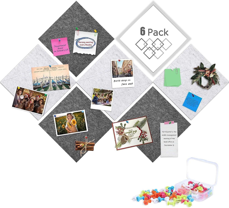 Tikea Felt Bulletin Boards 6pcs Square P Push 35 with Sale item Limited price sale Pin