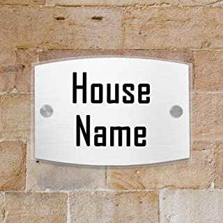 JEXICASE Customized Personalised Door Plate, Acrylic Modern House Arc Transparent Sign Door Number Name Road Plaque-Text Layout 1