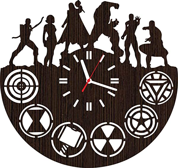 Wooden Wall Clock The Avengers Gifts For Men Women Kids Boys Girls Birthday Christmas Wedding Party Decorations Baby Shower Vinyl Poster Accessories Collectibles Iron Man Hulk Thor Captain America