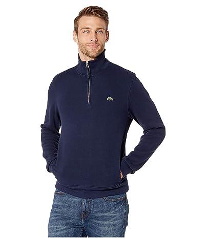 Lacoste Interlock Solid 1/4 Zip Sweater Classic (Navy Blue) Men