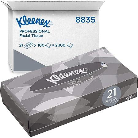 Kleenex 8835 Boîtes de mouchoirs, 21 paquets de 100 formats, 2 épaisseurs, Doux et résistant, Sans parfum, Couleur : Blanc, 08835020