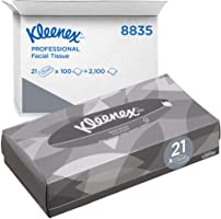 Kleenex Facial Tissues 8835 - 2 Ply Boxed Tissues - 21 Flat Tissue Boxes x 100 White Facial Tissues (2,100 Sheets)