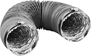 Dryer Vent Hose Transition Duct 4 inches - 2 Premium Screw Clamp Connections - Extra Strong Aluminum Interior and Flexible Tear Resistant PVC Outer Shell - HVAC or Grow Room Heat Ventilation (20 ft)