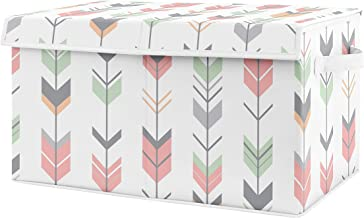 Sweet Jojo Designs Coral, Mint and Grey Woodland Arrow Girl Baby Nursery or Kids Room Small Fabric Toy Bin Storage Box Chest for Woodsy Collection