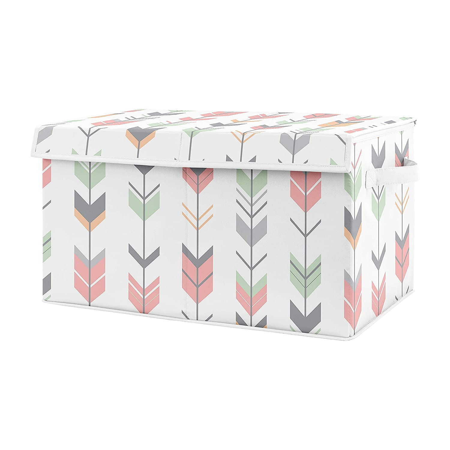 Sweet Jojo Designs Woodland Arrow Girl Small Fabric Toy Bin Storage Box Chest for Baby Nursery or Kids Room - Grey, Coral Pink and Mint Green Mod Modern
