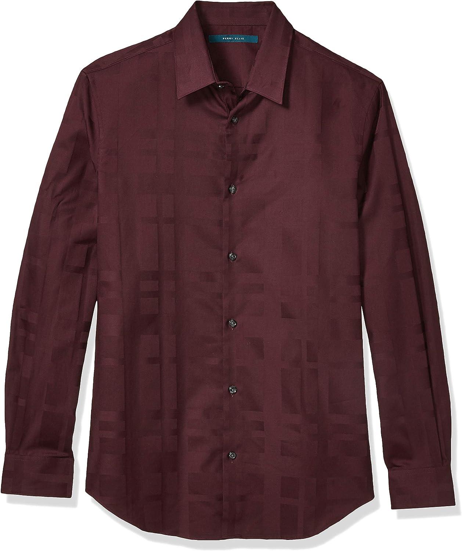 Perry Ellis 日本未発売 Men's 値下げ Long Shirt Plaid Sateen Sleeve