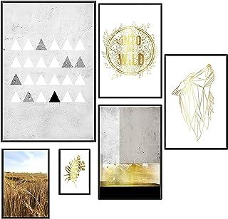 murando Affiches Métallique Or Effet de 6 Affiches avec Cadre Noir Motif Tableaux Impression Poster Encadré Murale Galerie...