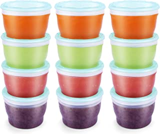 QOOC Baby Food Storage Freezer Containers, BPA-Free Airtight Plastic Set of 12-4 Ounce, Mint Blue