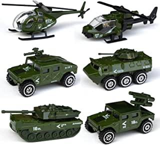 Tianmei 6 Cars in 1 Set Military styling 1:87 Alloy Diecast Vehicle Models Collection Kids Toy, Armament series Helicopter Tank Jeep Truck Armored Car (6pieces - Army)