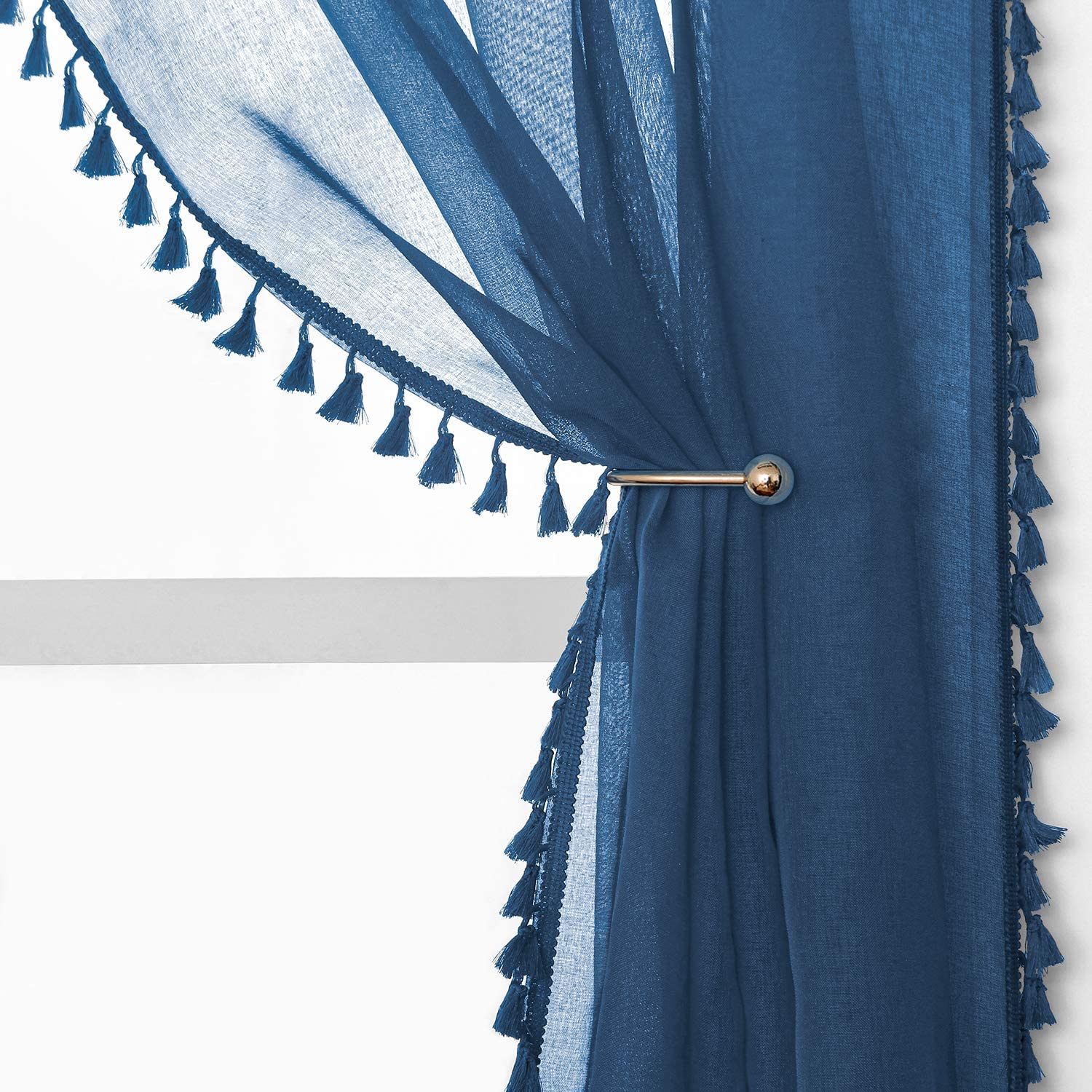 YoungsTex Linen Recommended Look Sheer Curtains Top Grommet Voile 67% OFF of fixed price - Tassels