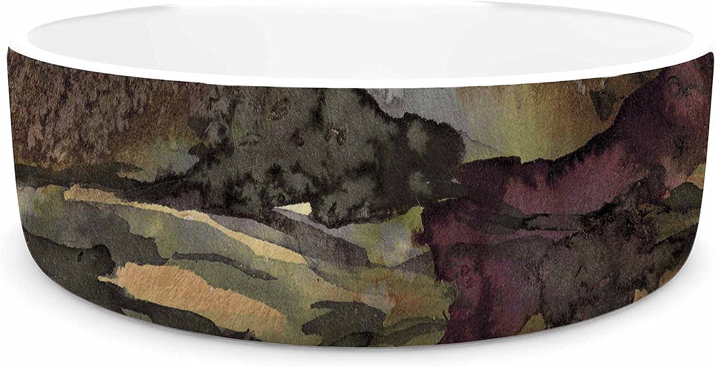 KESS InHouse EBI Emporium The Long Road 1  Maroon Olive Watercolor Pet Bowl, 7  Diameter