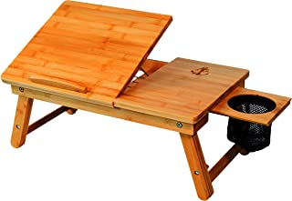Stock Harbor Laptop Lap Desk, Bed Tray of Sturdy Bamboo with Heavy Duty Drink Storage Net, Surface Holder, Adjustable, Foldable and Large for All Your LapDesk Multitasking