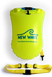 New Wave Swim Buoy for Open Water Swimmers and Triathletes - Light and Visible Float for Safe Training and Racing - Fluo Y...