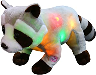 Athoinsu Light up Stuffed Raccoon Soft Plush Toy with LED Night Lights Birthday for Kids Toddlers, 12''