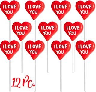 Heart Shape Lollipops (12 Pack) I Love You Pops, Great for Valentines Day Goody Bag Fillers or Party Favor