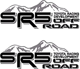 SR5 Truck Mountain Off-Road 4x4 Racing Tacoma Decal Vinyl Sticker Pair of 2 (Black/Grey)