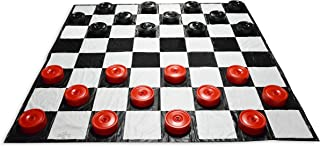 Giant Indoor/Outdoor Checkers Set | Garden Games - Giant Checkers Set with Giant Board | 10 ft x 10 ft Mat