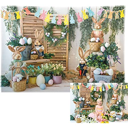 5x7ft Vinyl Photography Backdrop Happy Easter Cute Rabbits Garland Ribbon Green Plants Duck Flowers Branch Carpet Photo Background Children Baby Adults Portraits Backdrop