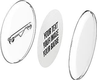 Chapas plásticas con alfiler incluido (a presión) hágalo usted mismo, sin necesidad de máquina (Ø 30 mm,10 piezas) - Conjunto de chapas con alfiler y papel- pre cortado A4