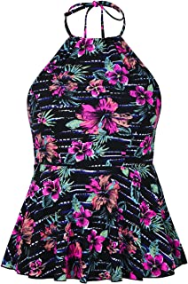 Hilor Women's High Neck Swimwear Halter Swimsuit Ruffle Hemline Tankinis Tops