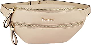 B BRENTANO Vegan Leather Fanny Pack Waist Purse with RFID Blocking (Beige)