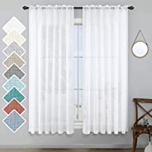 White Semi Sheer Curtains 63 Inch Length for Bedroom Pair Set 2 Panels Rod Pocket Translucent Light Filtering Faux Linen T...