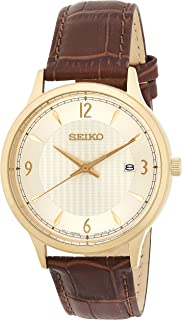Quartz White Dial Brown Leather Men's Watch SGEH86
