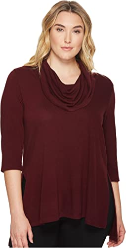 Karen Kane Plus - Plus Size Cowl Neck Side Slit Sweater