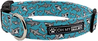 Shark Collar for Pets Size Medium 3/4 Inch Wide and 13-20 Inches Long - Hand Made Dog Collar by Oh My Paw'd