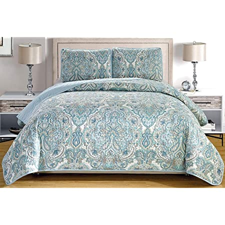3 Piece Fine Printed Oversize 100 X 95 Quilt Set Reversible Bedspread Coverlet Queen Size Bed Cover Pale Blue Grey Paisley Home Kitchen