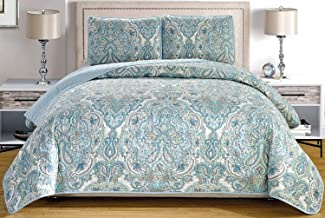 3-Piece Fine printed Oversize (115 X 95) Quilt Set Reversible Bedspread Coverlet KING SIZE Bed Cover (Pale Blue, Grey, Paisley)