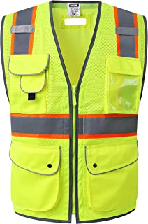 HATAUNKI Class 2 Retro-Reflection Safety Vests Heavy Duty Mesh with 11 Multi-Function Pockets and Front Zipper ANSI/ISEA 107-2015 (Yellow-02, Medium)