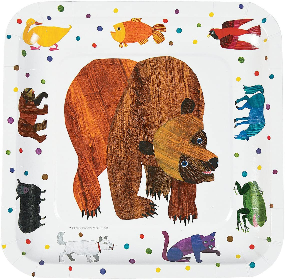 Fun Express - Brown Bear Dinner Plates for Birthday - Party Supp