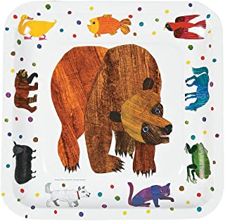 Fun Express - Brown Bear Dinner Plates for Birthday - Party Supplies - Print Tableware - Print Plates & Bowls - Birthday - 8 Pieces