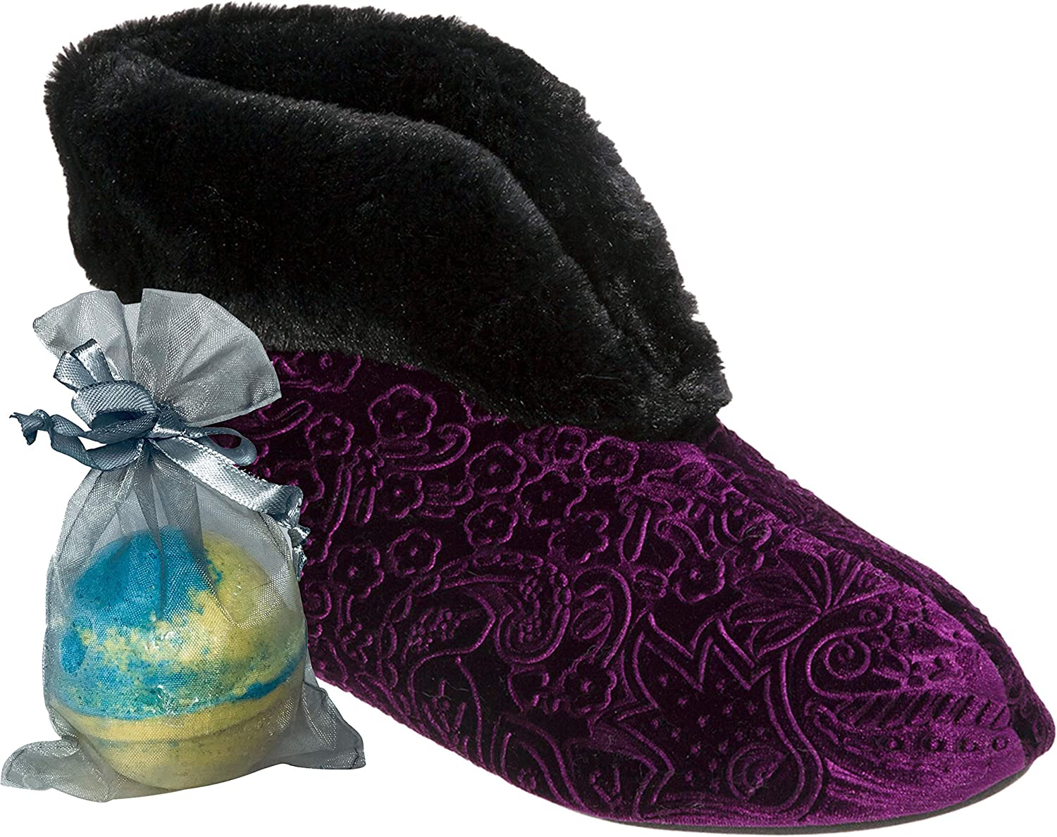 Jennjuli Women's Slippers Embossed Velour Bootie with Silky Pile Cuff and Memory Foam for Warmth Style and Comfort by Dearfoams