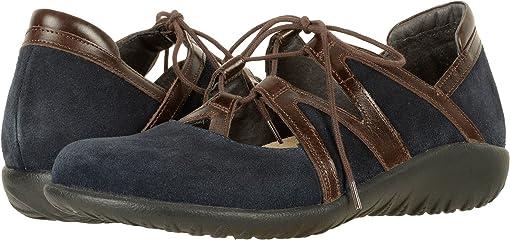Blue Velvet Suede/Walnut Leather