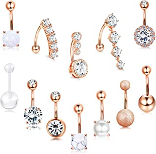 LOLIAS 12Pcs 14G Belly Button Rings for Women 316L Surgical Steel Curved Navel Barbell Body Piercing Jewelry